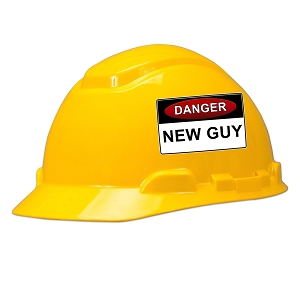 Danger New Guy Hard Hat Helmet Sticker
